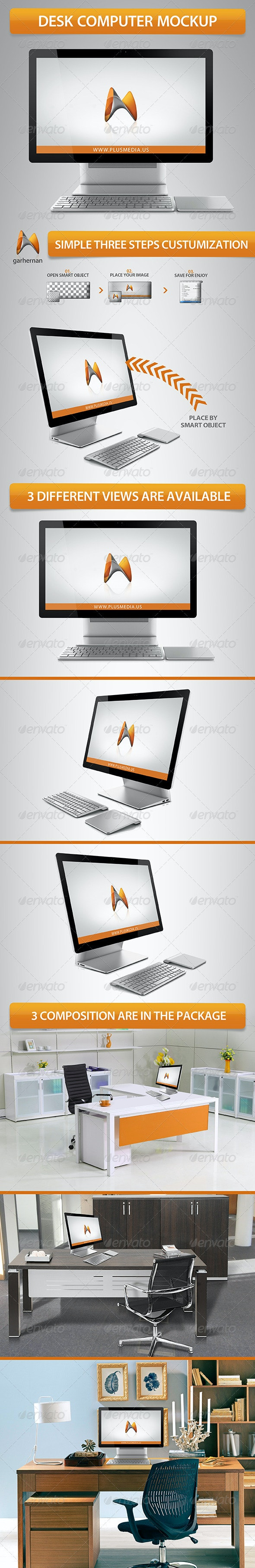 Desk Computer Mockup - Product Mock-Ups Graphics
