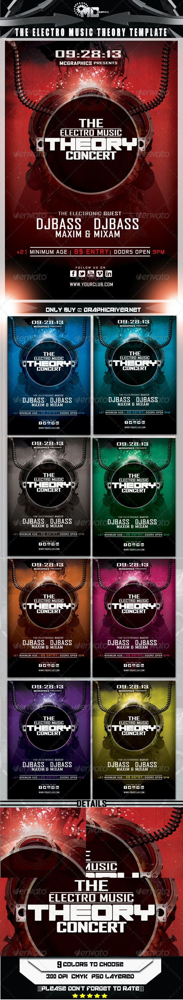 Electro Music Theory Concert Flyer Template - Concerts Events