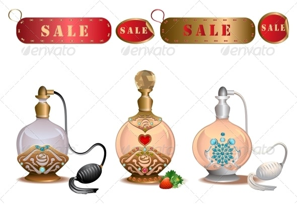 Perfume Bottles with Sale Labels - Retail Commercial / Shopping