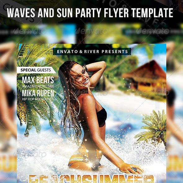 Waves and Sun Party Flyer Template