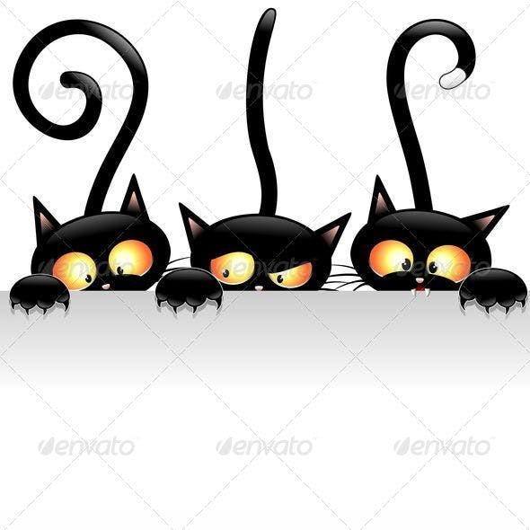 Black Cats Cartoon with White Panel