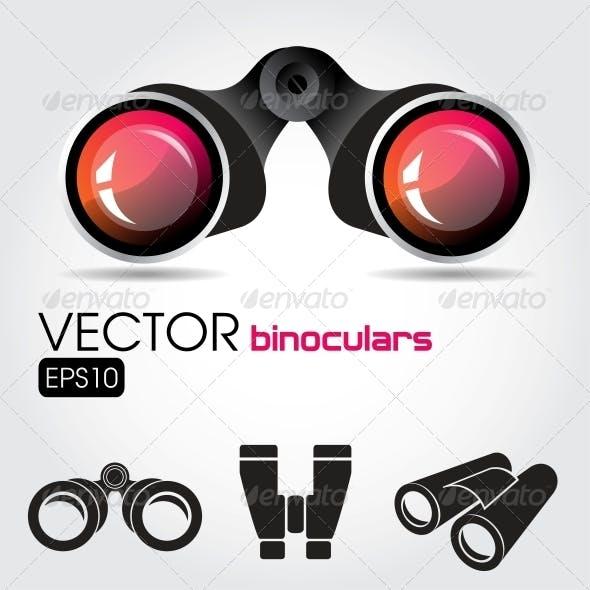 Black Binocular with Red Lenses
