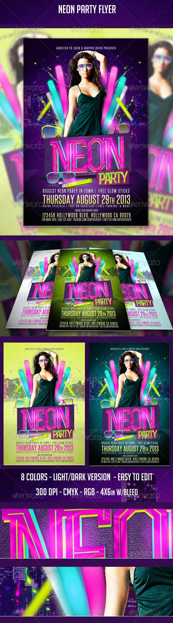 Neon Party Flyer - Clubs & Parties Events
