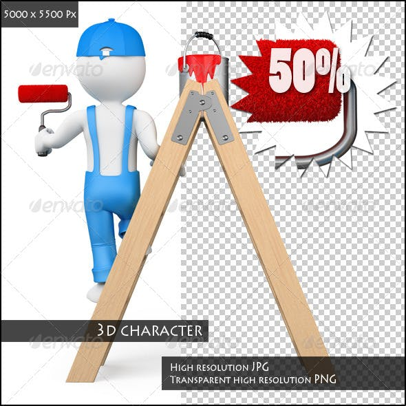 3D White People. Painter Working with a Ladder