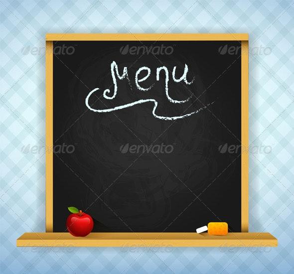 Chalkboard for Restaurant Menu - Food Objects
