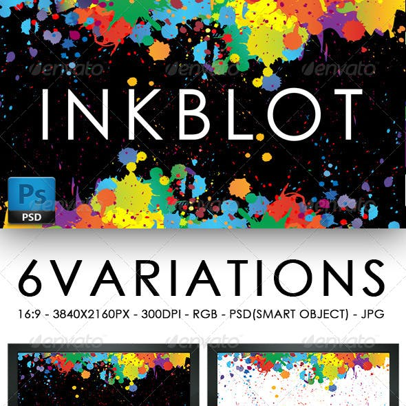 Inkblot Background Set 6 Variations with PSD