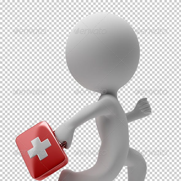 3d small people - running doctor