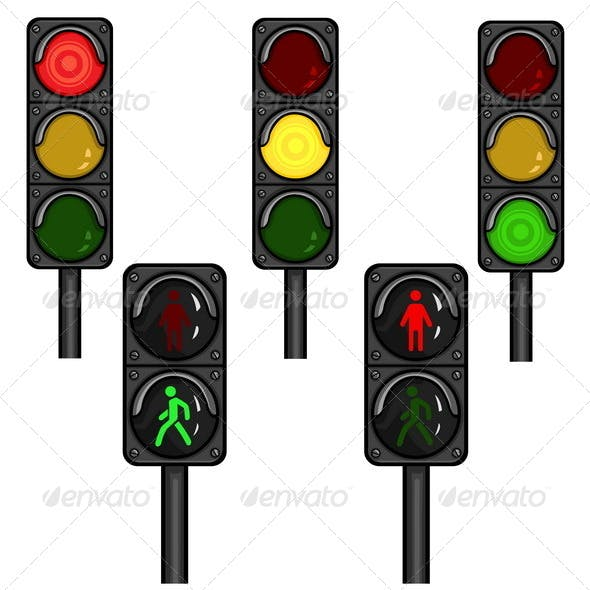 Vector Set of Traffic Lights