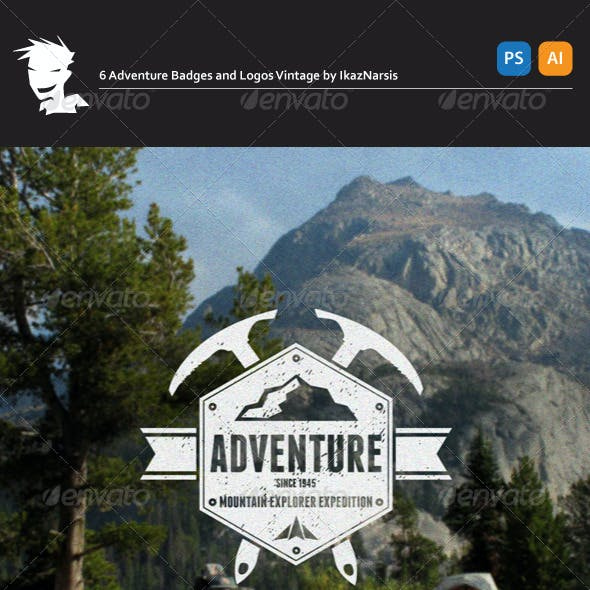 6 Adventure Badges and Logos Vintage