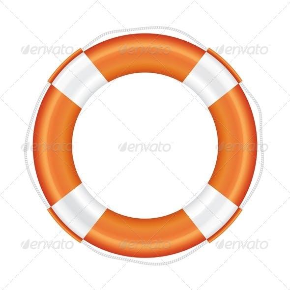 Orange Lifebuoy with White Stripes and Rope