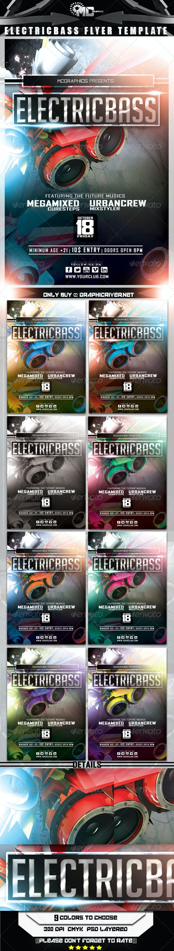 Electric Bass Fyer Template - Clubs & Parties Events