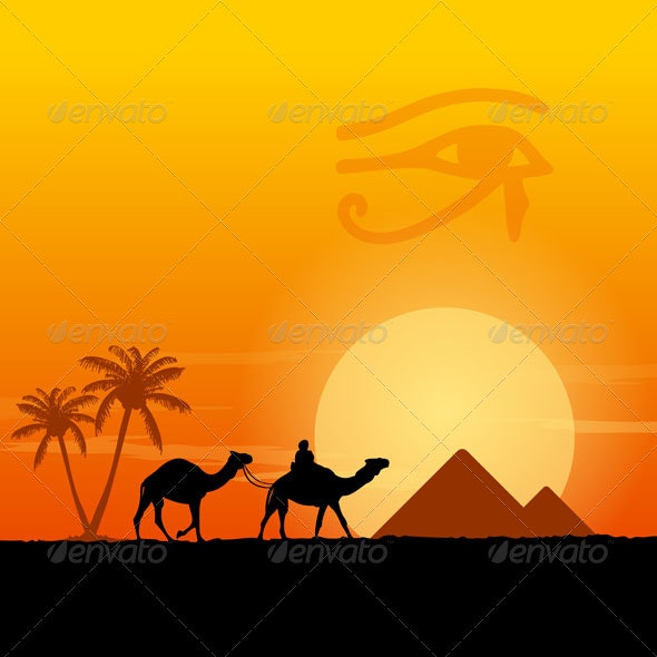Egypt Symbols and Pyramids - Travel Conceptual