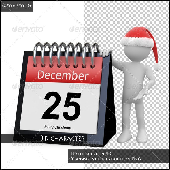 Man with Santa Hat Leaning on a Huge Calendar - 3D Renders Graphics