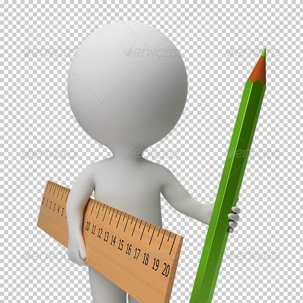 3d small people - ruler and pencil
