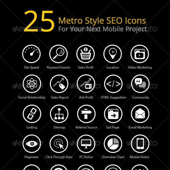 25 Metro Style SEO Icons