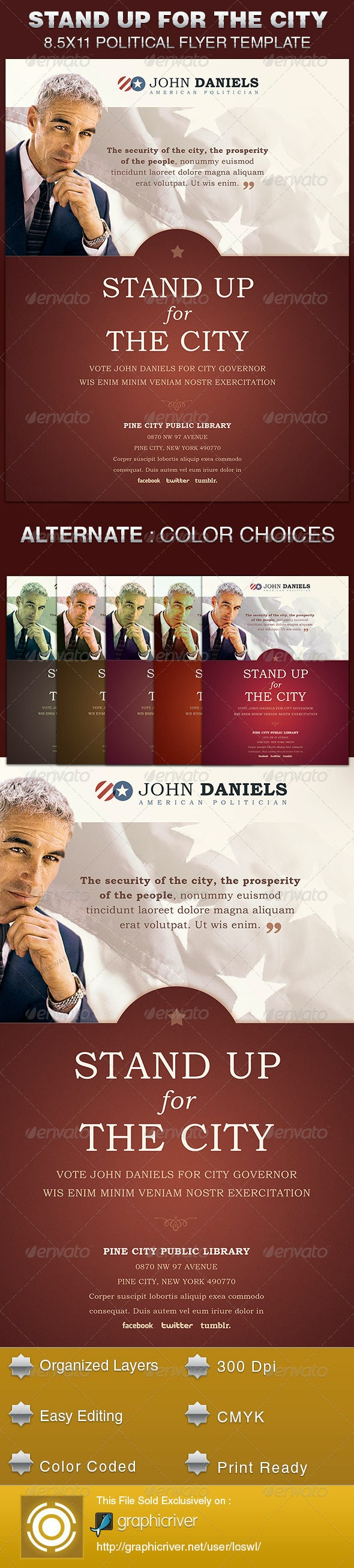 Stand Up for the City Political Flyer Template - Print Templates