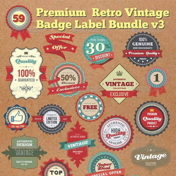 Premium Retro Vintage Badges & Labels Bundle V3