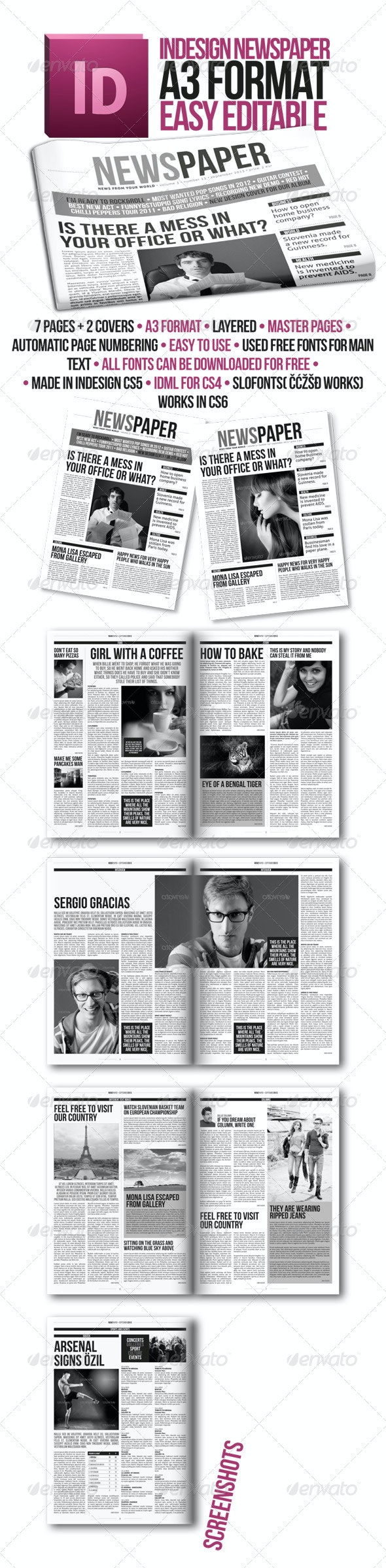 Indesign Modern Newspaper Magazine Template A3 - Newsletters Print Templates