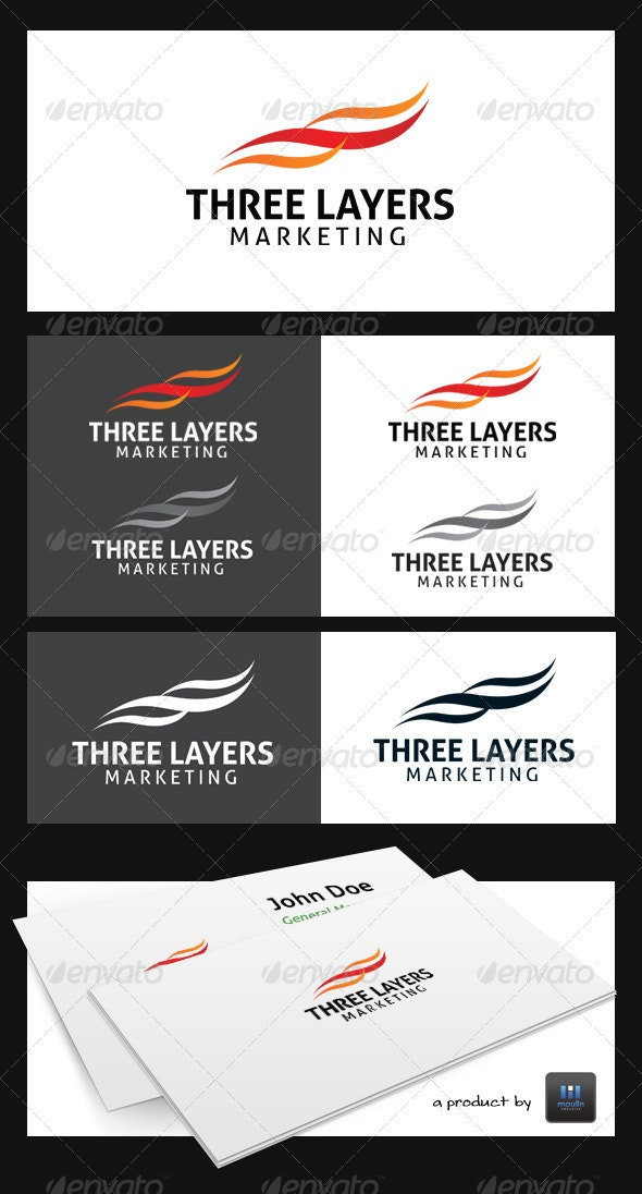Three Layers Marketing Logo Template - Abstract Logo Templates