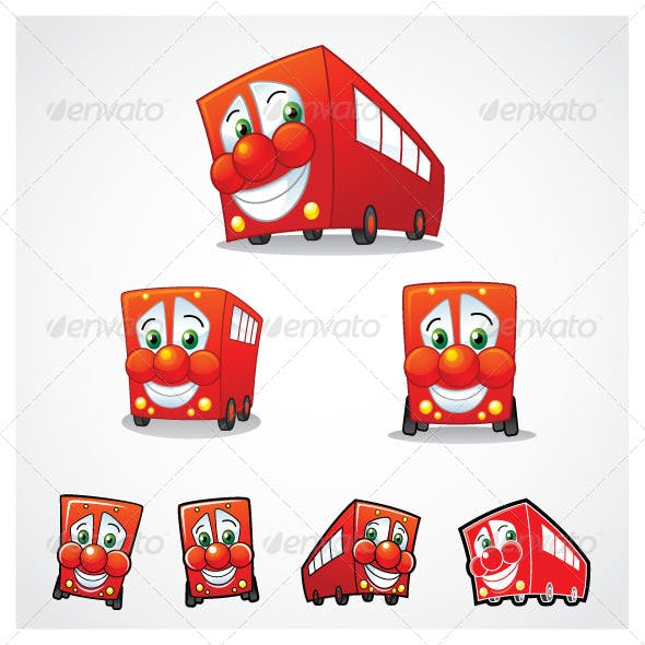 Vector Red Bus Mascot