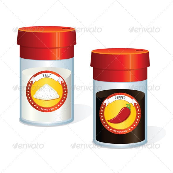 Jars for Pepper and Salt. Vector
