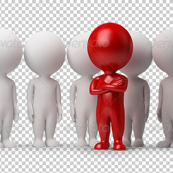 3d small people - leader of a team