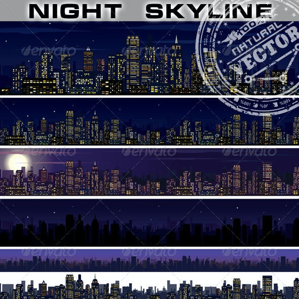 City Skyline. Collection of Night City Images