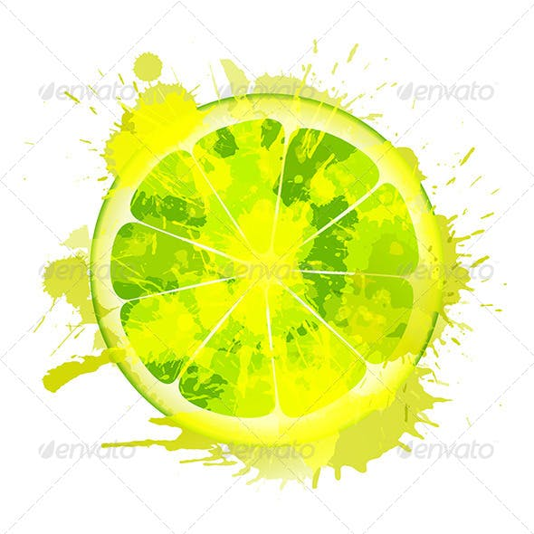 Lime Slice Made of Colorful Splashes