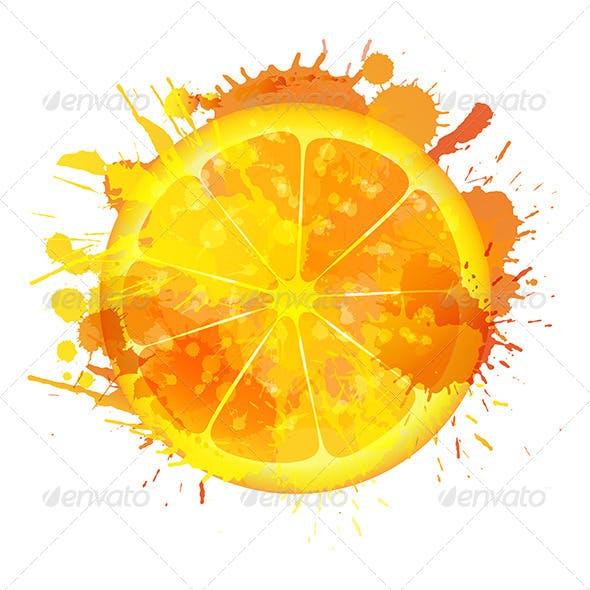 Orange Slice Made of Colorful Splashes