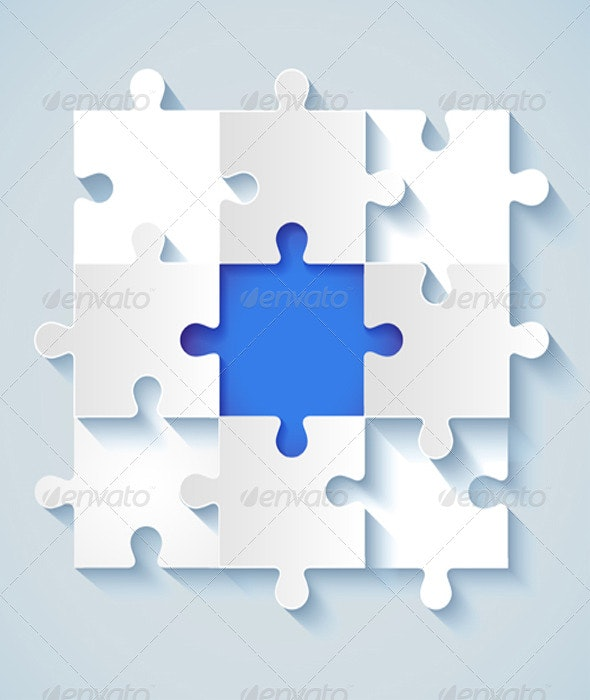 Paper Puzzle with a Blue the Middle  - Concepts Business