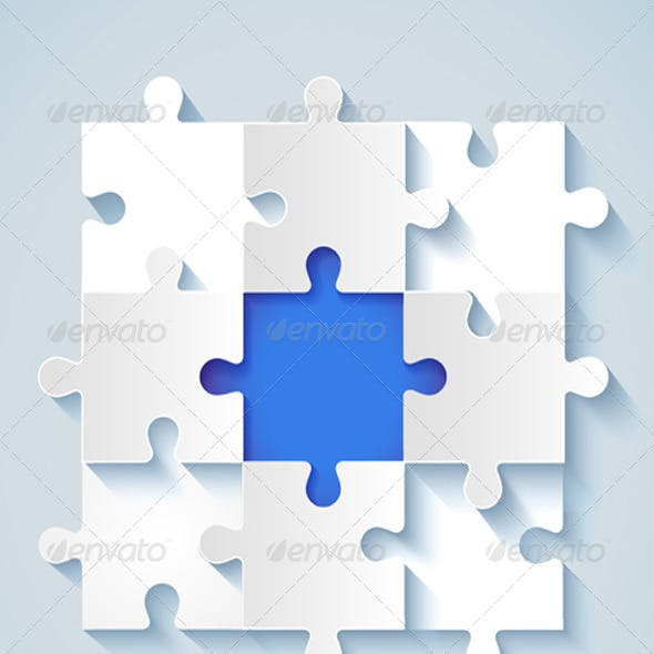 Paper Puzzle with a Blue the Middle