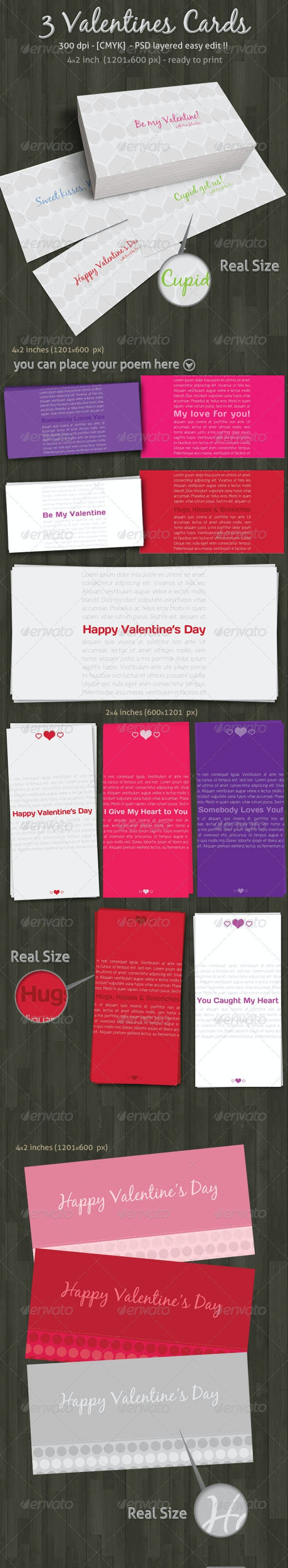 Valentines love heart romantic 3 different Cards - Creative Business Cards