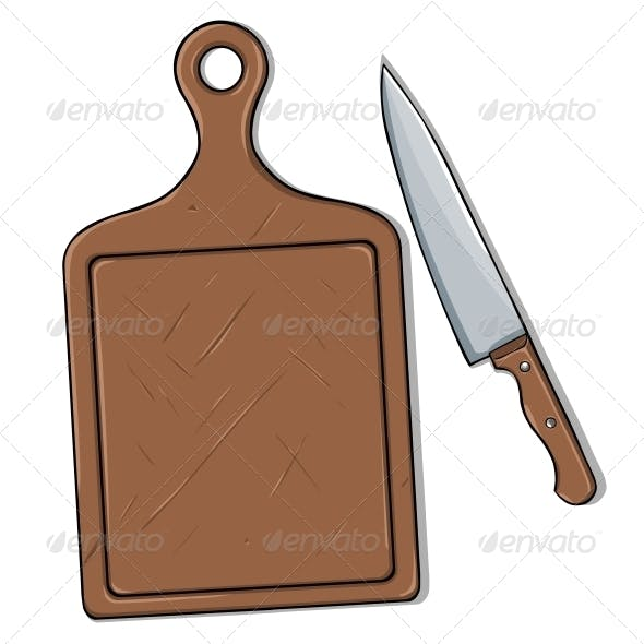 Vector Cutting Board and Knife
