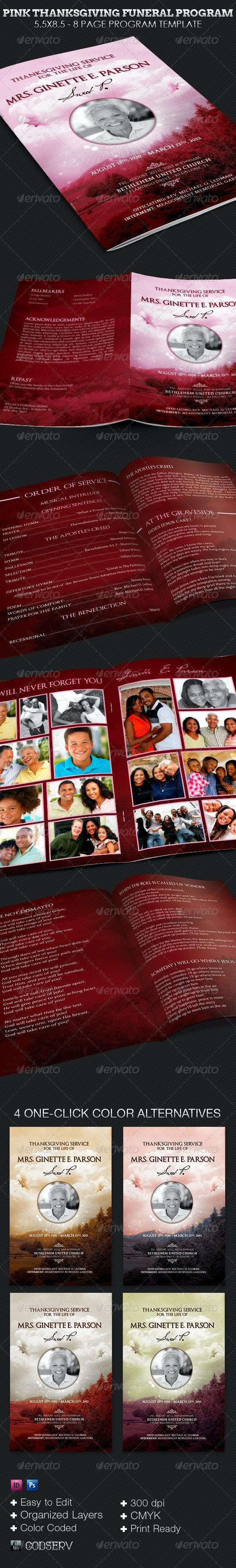 Pink Thanksgiving Funeral Program Template - Informational Brochures