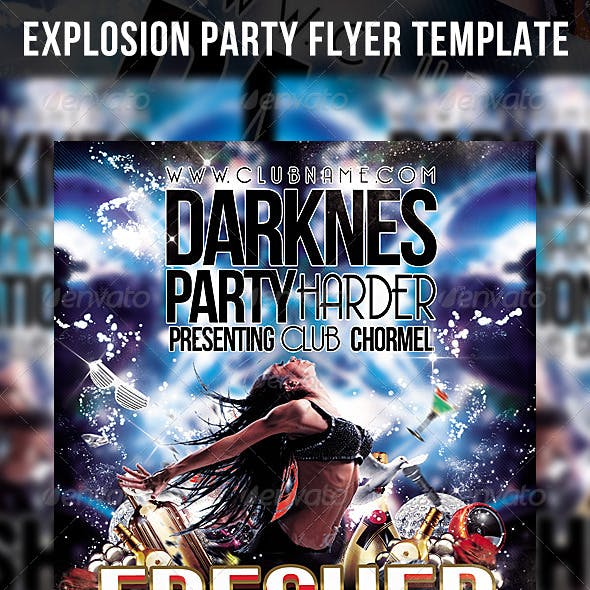 Explosion Party Flyer Template