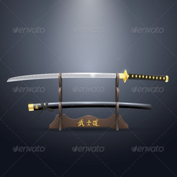 Realistic Samurai Sword and Scabbard on Stand