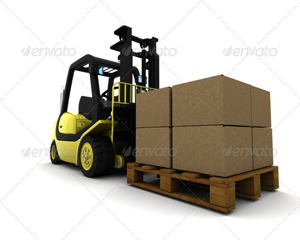 Forklift Truck Carrying Boxes - 3D Backgrounds