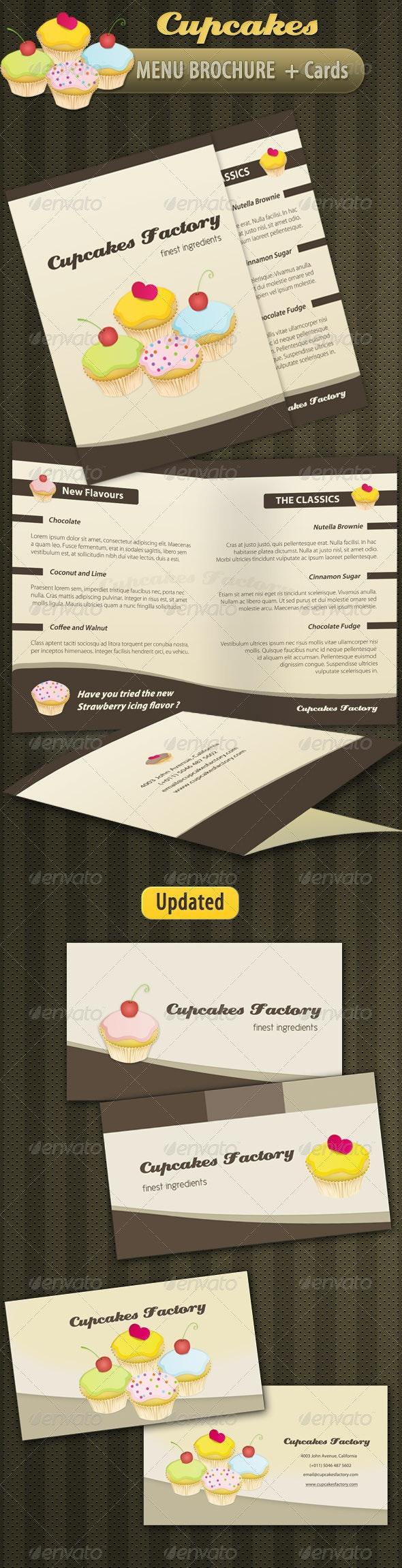Cupcakes Bakery Menu Brochure + Cards - Food Menus Print Templates