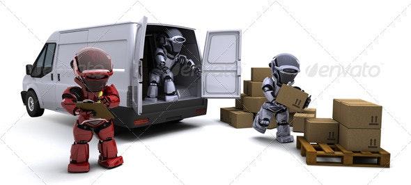 Robots Loading a Transit Van - 3D Backgrounds
