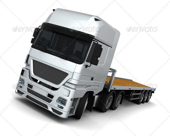 Euro Truck with a Flatbed Trailer - 3D Backgrounds