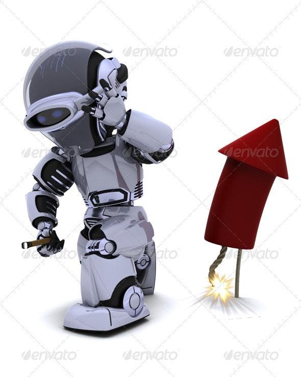 Robot Lighting a Firework - 3D Backgrounds
