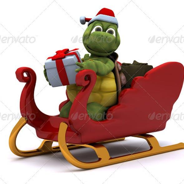 Cute Turtle in Santa's Sleigh