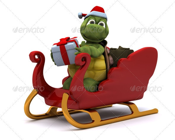 Cute Turtle in Santa's Sleigh - 3D Backgrounds