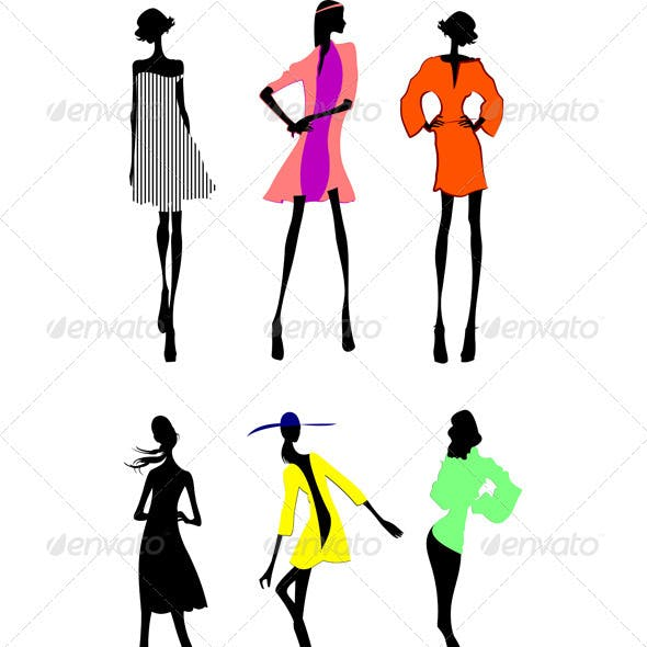 Six Fashion Girls Silhouette.