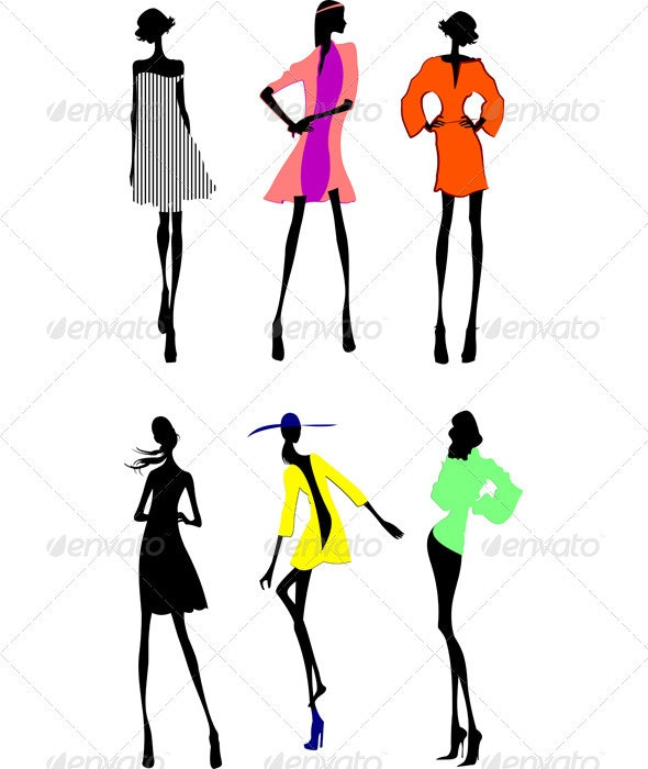 Six Fashion Girls Silhouette.  - People Characters