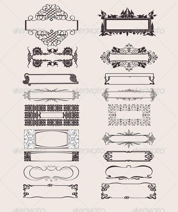Set Of Vector Frames Ornament Elements - Retro Technology