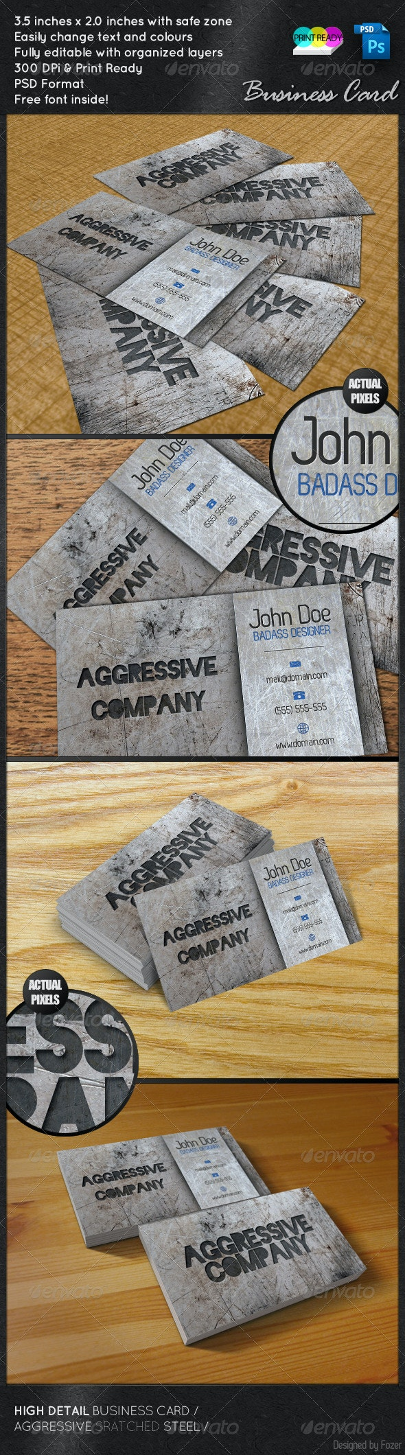 Aggressive Company Steel - Grunge Business Cards