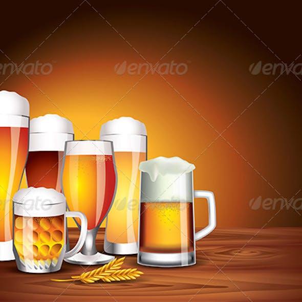 Beer Glasses on Wooden Table, Dark Background