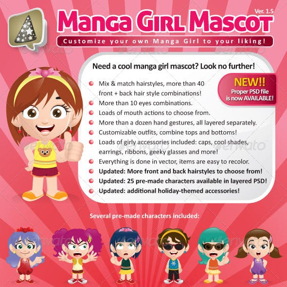 Manga Girl Mascot Creation Kit