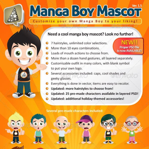 Manga Boy Mascot Creation Kit
